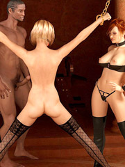 Masked 3d crazy guy and gis busty redhead girlfriend enslaved brunette girl and using her as they want.